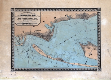 A correct map of Pensacola Bay showing topography of the coast, Fort Pickens, U.S. Navy Yard, and all other fortifications