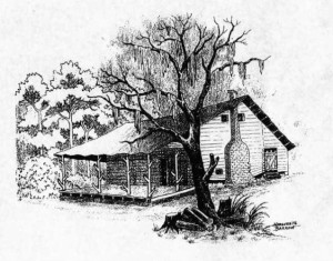 Drawing of Richmond Barrow homestead