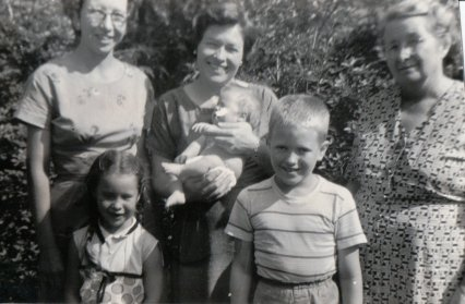 My mother & I, one of her sisters & two of my cousins & Grandmama, late 1950s