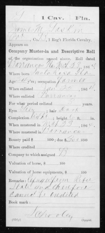 My ancestor James M. Gaskin enlisting with the 1st Florida Union Cavalry Volunteers