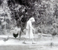 Grandmama going to collect eggs