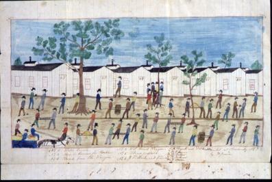 James Duke drawing of Rock Island Prison
