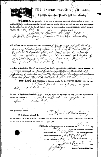 Land Patent for Martin W. Brett
