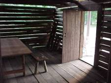 Inside of Richmond Barrow cabin after moved from original location