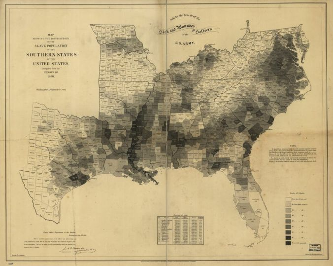 1860 Map of Distribution of Slave Population by County