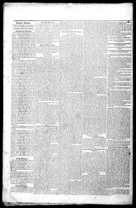 pg 2 12 Dec 1862 Abingdon Virginian newspaper
