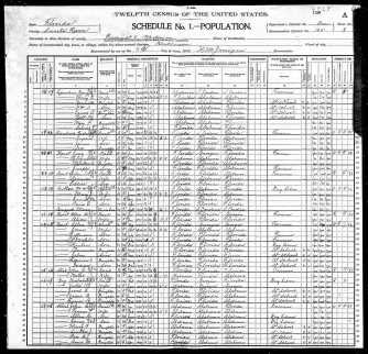 1900 Census for the Oak Grove area; FamilySearch.org; page 5 of 12