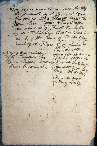 Documentation of Founding as contained in the 1850-1893 Church records